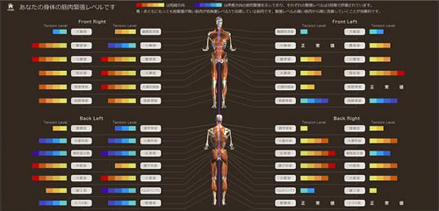 筋肉緊張の分布と改善プログラムを提案するコンテンツ